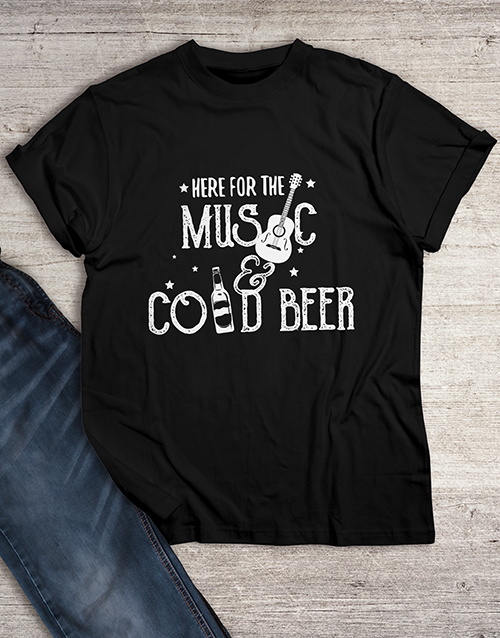 personalised: Here For The Music And Cold Beer T Shirt!