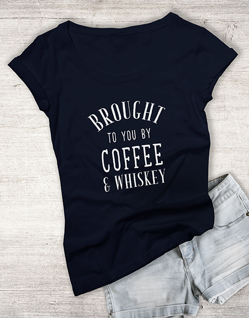personalised: Coffee And Whiskey Ladies T Shirt!