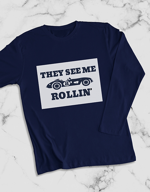 grandparents-day: Rolling Racecar Long Sleeve T Shirt!