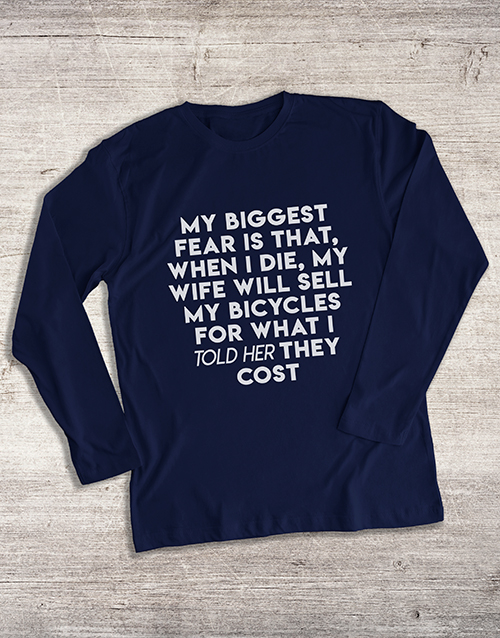 clothing: My Biggest Bicycle Fear Long Sleeve T Shirt!