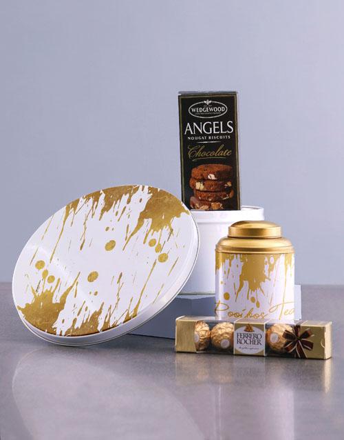 mothers-day: Gold Paint Tea Tin Hamper!