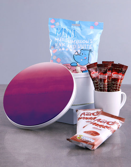 secretarys-day: Purple Hue Hot Chocolate Tin Hamper!