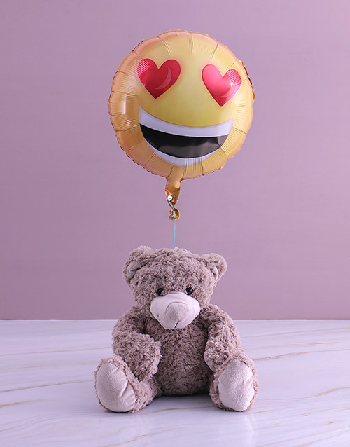 teddy-bears: Love Emoji Teddy And Balloon Gift!