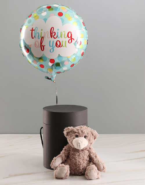 teddy-bears: Thoughts Of You Balloon With Teddy Bear In Hat Box!