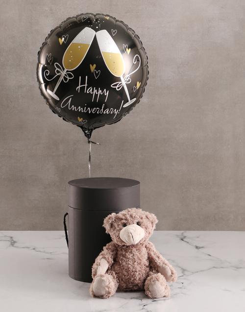 teddy-bears: Anniversary Balloon With Teddy Bear In Hat Box!