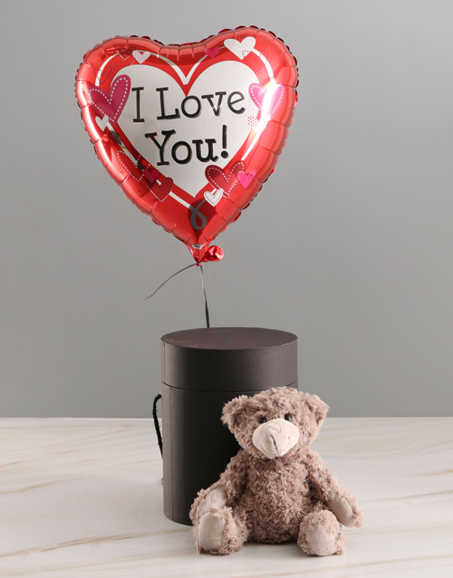 teddy-bears: I Love You Balloon With Teddy Bear In Hat Box!