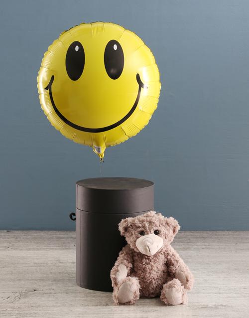 teddy-bears: Smiley Face Balloon With Teddy Bear In Hat Box!
