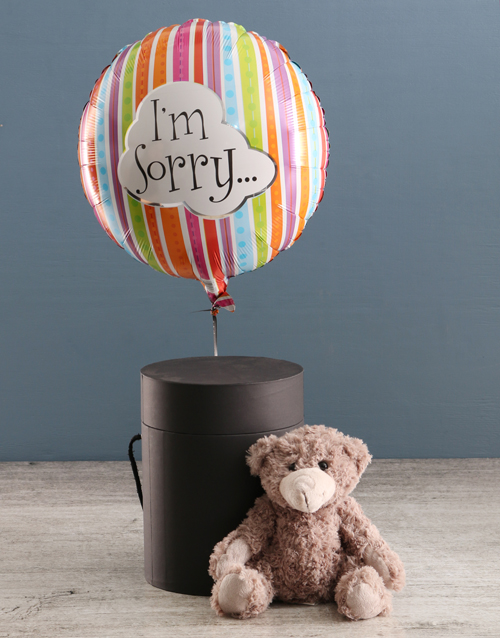 apology: Im Sorry Balloon With Teddy Bear In Hat Box!