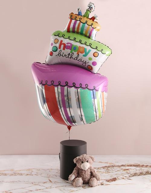 teddy-bears: Birthday Balloon With Teddy Bear In Hat Box!