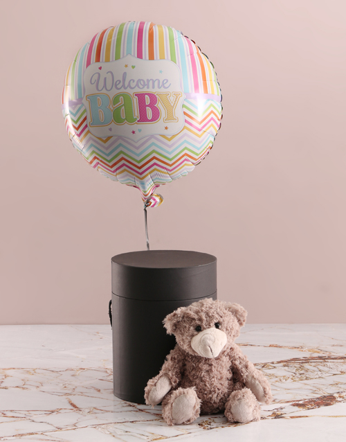 teddy-bears: Welcome Baby Balloon With Teddy Bear In Hat Box!