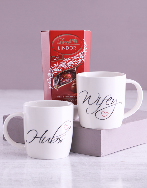 valentines-day: Wifey And Hubs Mug Set With Lindt Treats!