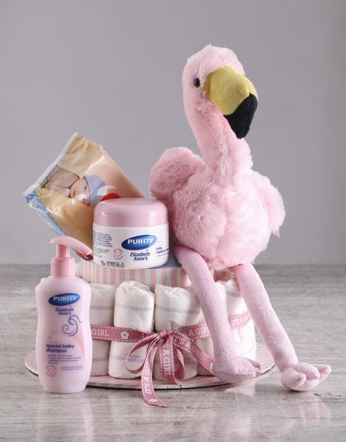 baby: Pink Flamingo Nappy Cake!