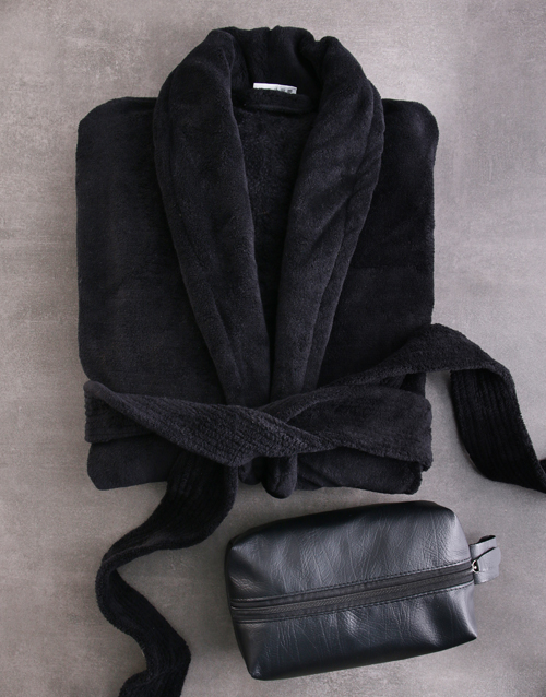 fathers-day: Black Fleece Gown And Wash Bag Gift Set!