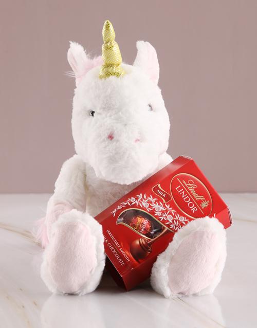 teddy-bears: Unicorn Teddy With Lindt Chocolate!