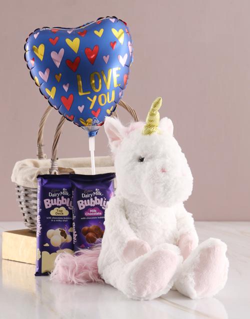 teddy-bears: Unicorn Chocolate Basket With Balloon!