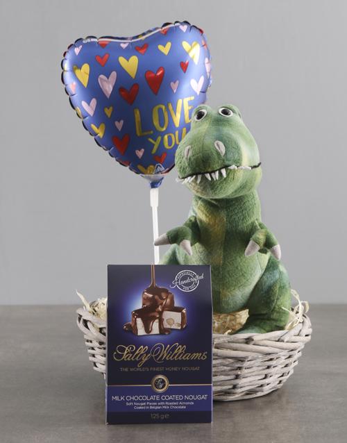 teddy-bears: Dinosaur Teddy With Chocolate Basket !