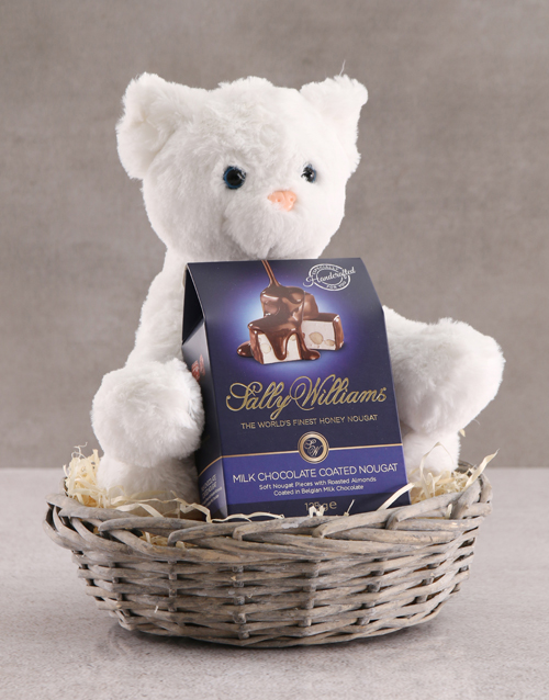 teddy-bears: Cat Teddy With Chocolate Basket!