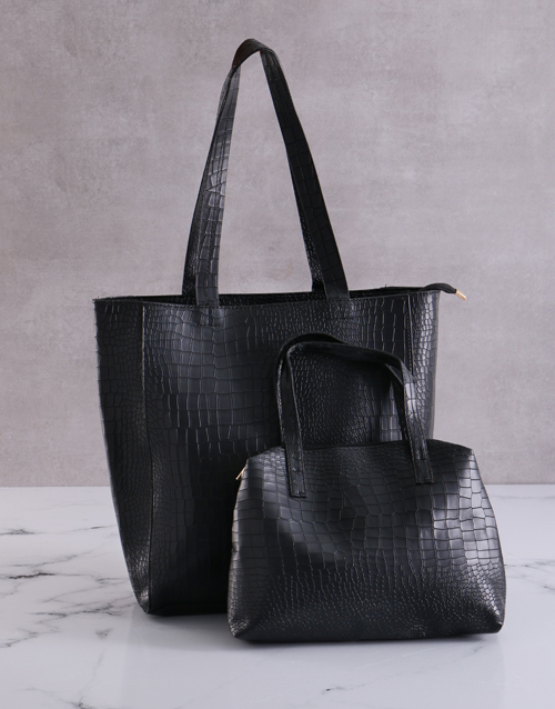 new-years: Black Bag With Mini Bag Set!