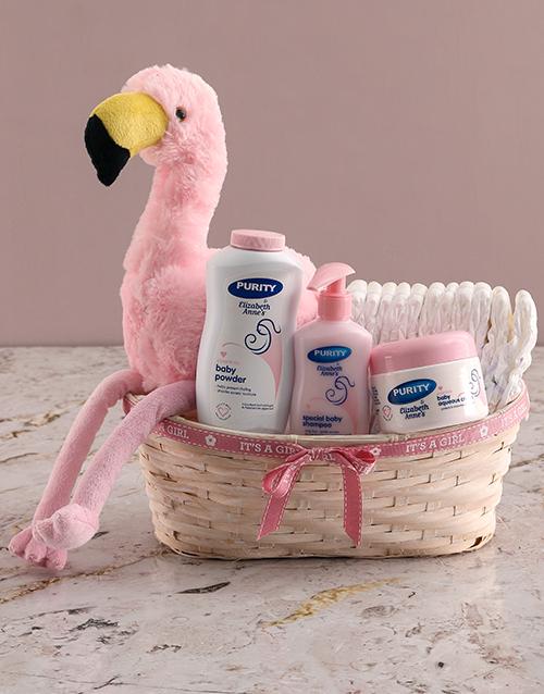 baby: Teddy Flamingo Plush Nappy Basket!