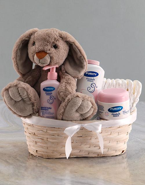 baby: Grey Rabbit Teddy Nappy Basket!