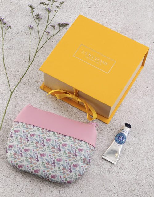 mothers-day: Loccitane Pink Floral Cosmetic Bag!