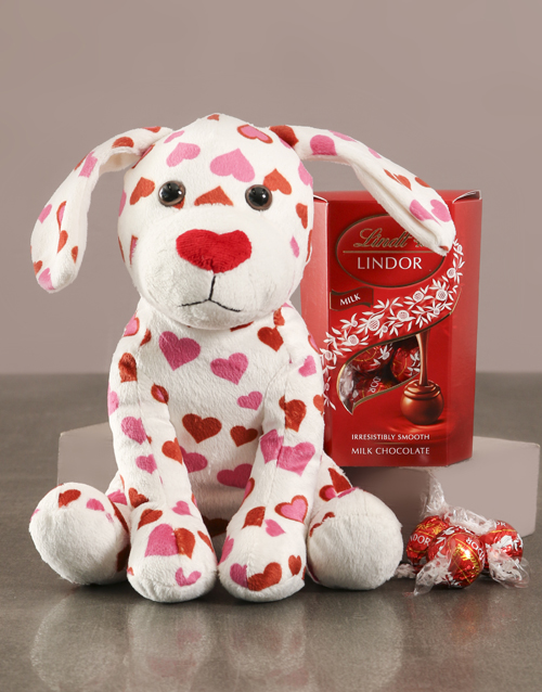 valentines-day: Puppy Love Teddy With Lindt Hamper!