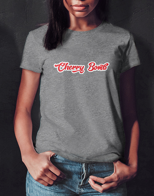 personalised: Cherry Bomb Ladies Grey Tshirt!
