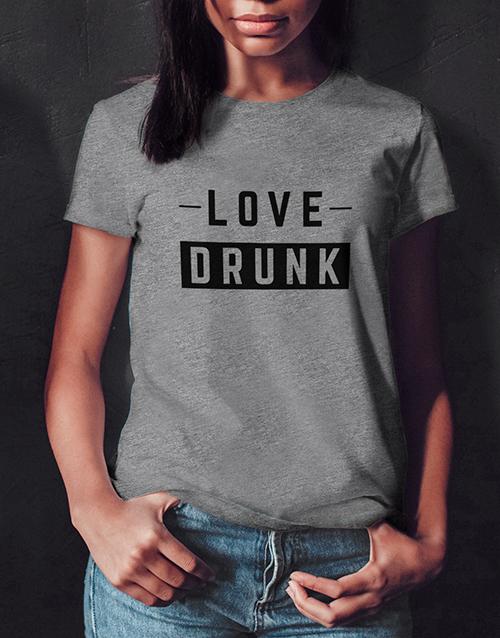 personalised: Love Drunk Ladies Grey Tshirt!