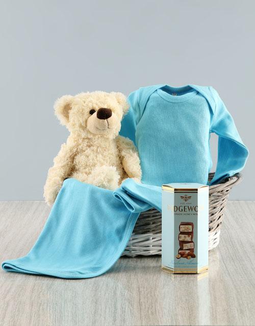 baby: Blue Clothing Gift Basket!