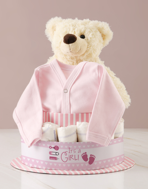 baby: Its A Girl Teddy And Clothing Nappy Cake!