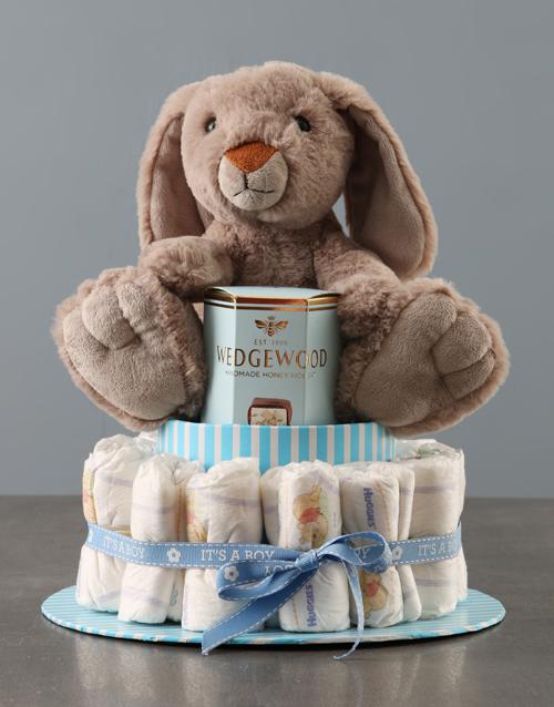 baby: Yummy Bunny Blue Nappy Cake!