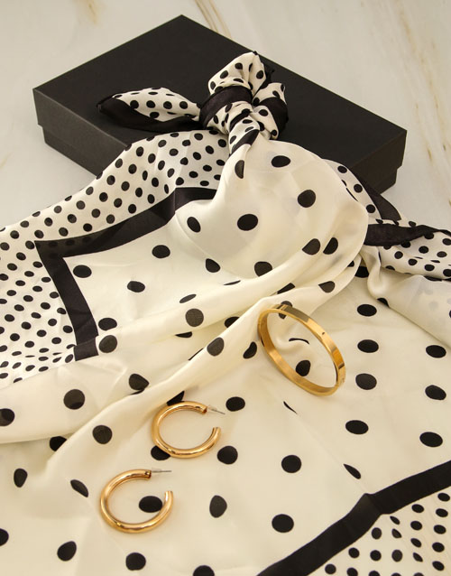 mothers-day: White And Black Polka Dot Silk Scarf Combo!