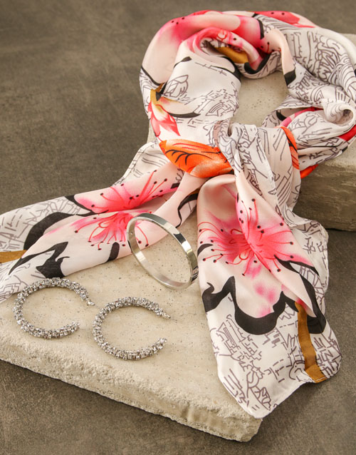 mothers-day: White With Pink Silk Scarf Combo !