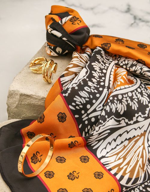 mothers-day: Ochre And Navy Silk Scarf Combo!