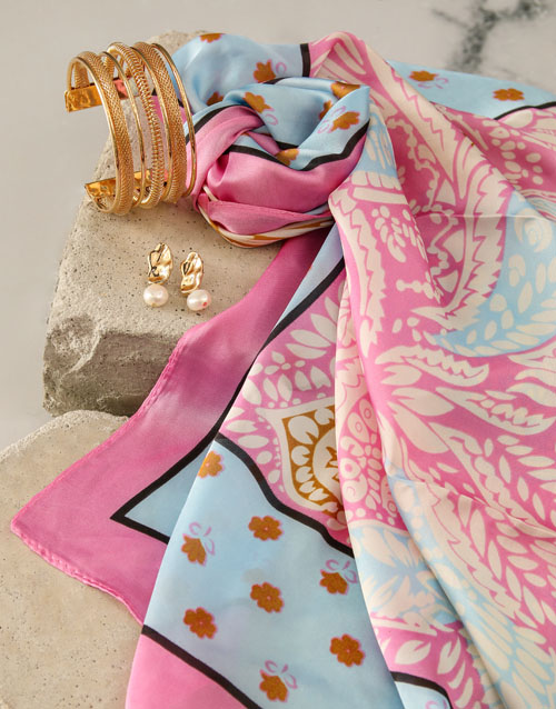 mothers-day: Pink And Blue Silk Scarf Combo!