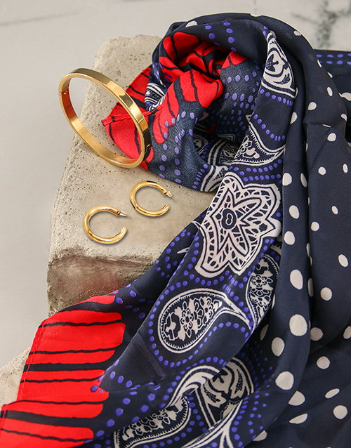 mothers-day: Red And Navy Polka Dot Silk Scarf Combo!