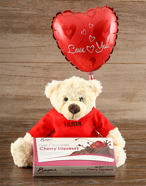 balloon: Lots of Hugs Teddy and Cherry Liqueur Chocs!