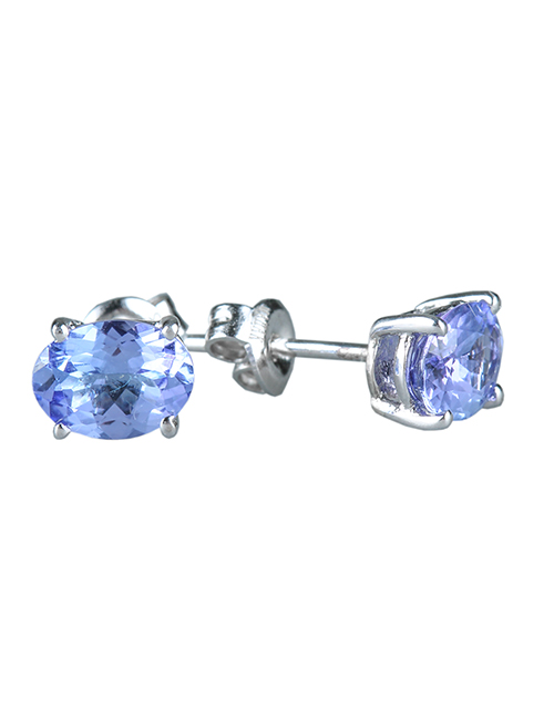 sale: Sterling Silver Oval 1.25ct Tanzanite Stud Earring!