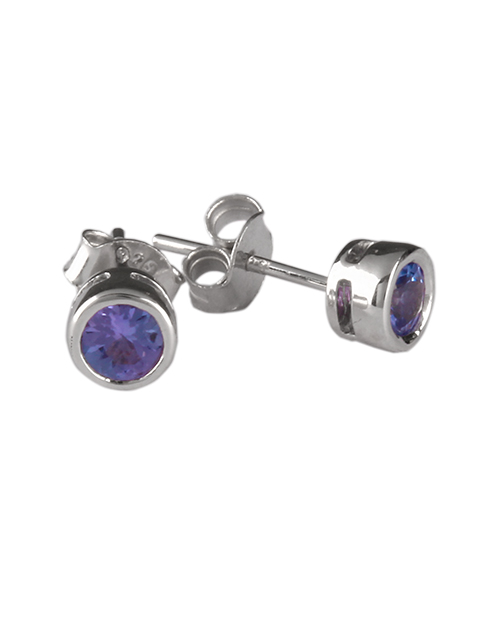 sale: 925 Silver 0.76ct Tube Set Tanzanite Earrings!