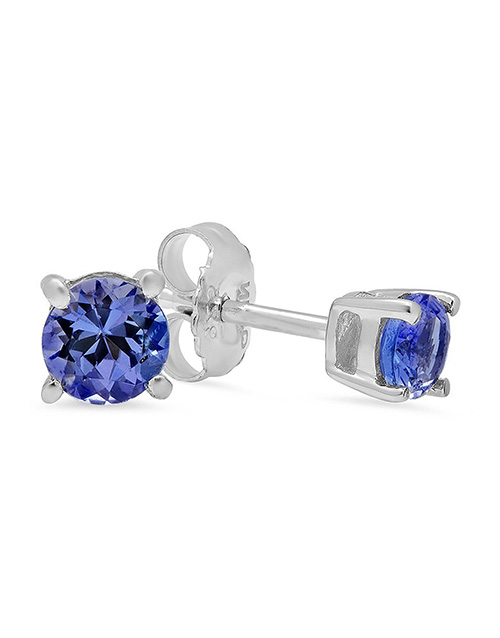 sale: Sterling Silver Tanzanite 4 Claw studs 0.50ct!