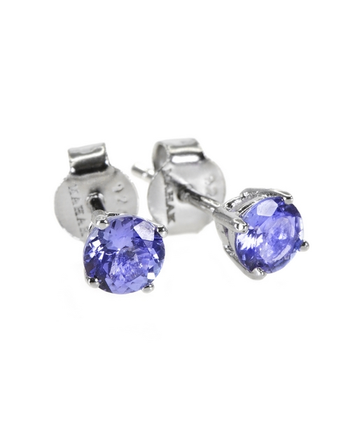earrings: 925 Silver 4 Claw Round Tanzanite Studs!