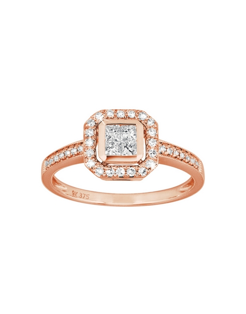rings: 9KT Rose Gold Square Top Diamond 0,15ct Ring!