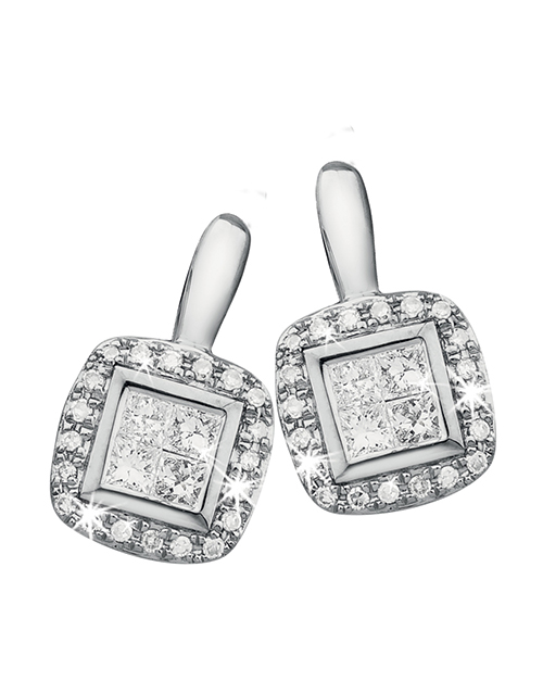 love-and-romance: 9KT Invisible Set Princess Cut Diamond Earrings!