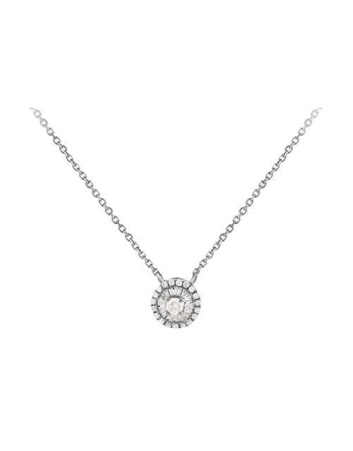 necklaces: 9kt White Gold Round Diamond Necklace!