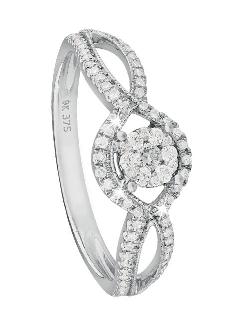 love-and-romance: 9KT White Gold Pave Set Diamond Curve Shank Ring!