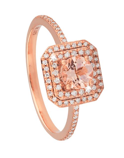 9KT Rose Gold Round Morganite and Diamond Ring