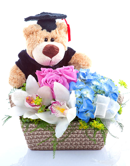 Flower Baskets Singapore : Buy graduation flower and bear basket netflorist
