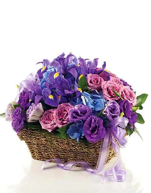 flowers: Purple Iris and Rose Basket!