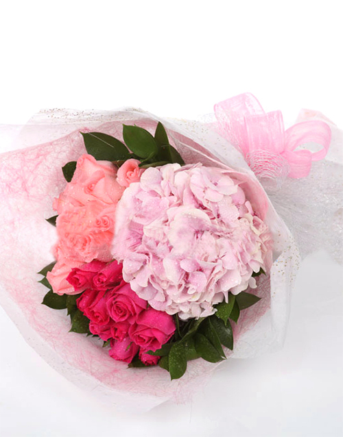 Buy hydrangea and pink roses bouquet online netflorist undefined negle Images