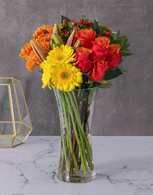 lilies: Roses Lilies and Gerbera Vase!